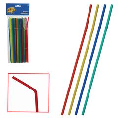 Одноразовые трубочки для коктейля, комплект 50 шт., разноцветные, в упаковке с европодвесом