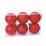 Шары елочные, набор 6 шт., пластик, диаметр 6 см, цвет красный (глянец, матовый, глиттер), ассорти