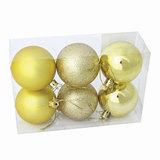 Шары елочные, набор 6 шт., пластик, диаметр 6 см, цвет золотистый (глянец, матовый, глиттер), ассорти