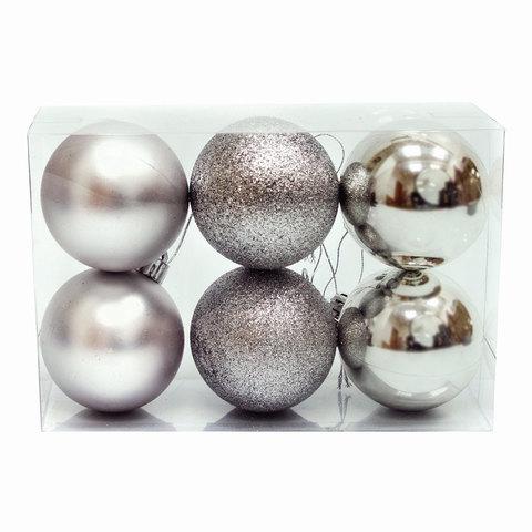 Шары елочные, набор 6 шт., пластик, диаметр 6 см, цвет серебристый (глянец, матовый, глиттер), ассорти