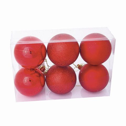 Шары елочные, набор 6 шт., пластик, диаметр 8 см, цвет красный (глянец, матовый, глиттер), ассорти