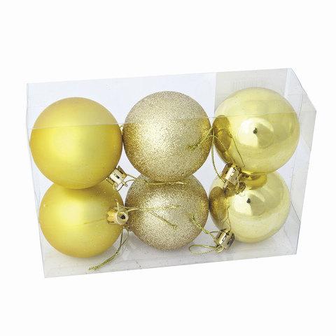Шары елочные, набор 6 шт., пластик, диаметр 8 см, цвет золотистый (глянец, матовый, глиттер), ассорти