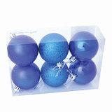 Шары елочные, набор 6 шт., пластик, диаметр 8 см, цвет синий (глянец, матовый, глиттер), ассорти