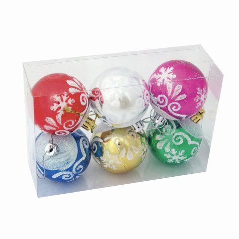 Шары елочные, набор 6 шт., пластик, диаметр 6 см, с рисунком глиттером, ассорти 6 цветов (глянец)