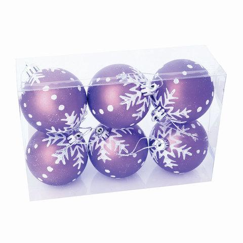 Шары елочные, набор 6 шт., пластик, диаметр 6 см, с рисунком, цвет фиолетовый (матовый)