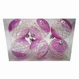 Шары елочные, набор 6 шт., пластик, диаметр 6 см, с рисунком, цвет розовый (глянец)