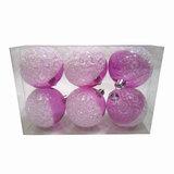 Шары елочные, набор 6 шт., пластик, диаметр 6 см, с рисунком, цвет розовый (глянец+глиттер)