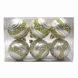 Шары елочные, набор 6 шт., пластик, диаметр 6 см, с рисунком, цвет персиковый (матовый+глиттер)