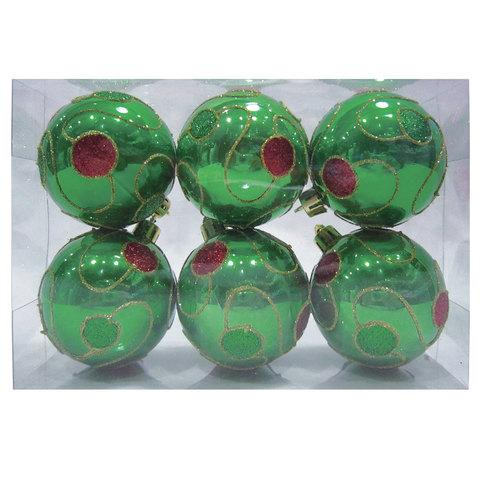 Шары елочные, набор 6 шт., пластик, диаметр 6 см, с рисунком, цвет зеленый (глянец)