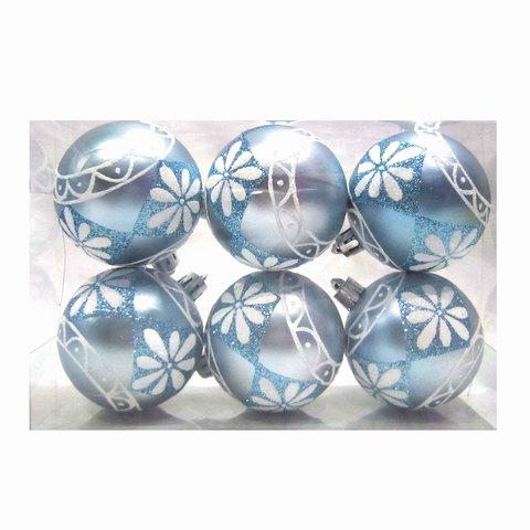 Шары елочные, набор 6 шт., пластик, диаметр 6 см, с рисунком глиттером, цвет светло-голубой (матовый)