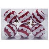 Шары елочные, набор 6 шт., пластик, диаметр 6 см, с рисунком, цвет красный (глянец+глиттер)