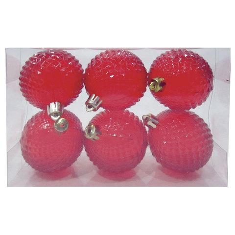 Шары елочные, набор 6 шт., пластик, диаметр 6 см, полупрозрачные, цвет красный (глянец)
