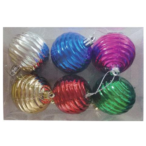 Шары елочные, набор 6 шт., пластик, диаметр 6 см, ассорти 6 цветов (глянец)