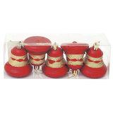 Украшения елочные «Колокольчики», набор 5 шт., пластик, высота 6 см, с рисунком, цвет красный (матовый)