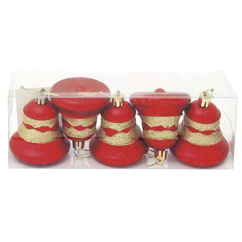 """Украшения елочные """"Колокольчики"""", набор 5 шт., пластик, высота 6 см, с рисунком, цвет красный (матовый)"""