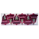 Украшения елочные «Колокольчики», набор 6 шт., пластик, высота 8 см, с рисунком, цвет красный