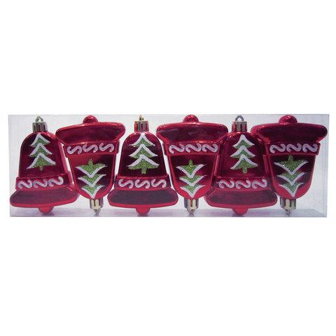 """Украшения елочные """"Колокольчики"""", набор 6 шт., пластик, высота 8 см, с рисунком, цвет красный"""