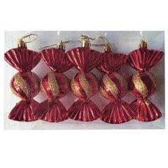 Украшения елочные подвесные «Конфеты», набор 5 шт., 11,5 см, пластик, с рисунком, красные