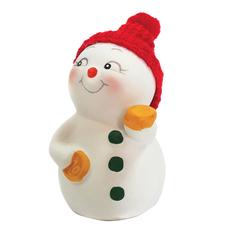 Фигурка новогодняя «Снеговик с монетами», 8 см, керамика