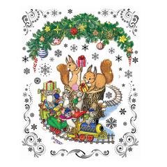 Украшение для окон и стекла декоративное «Новогодний паровозик и мышата», 30×38 см, ПВХ