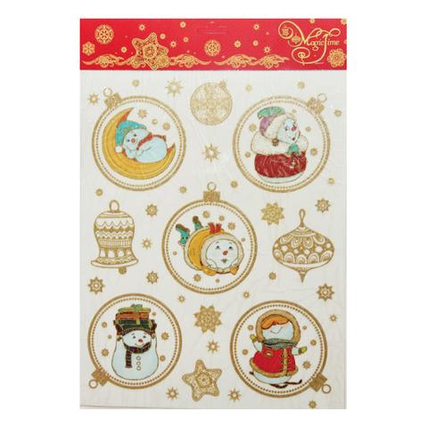 """Украшение для окон и стекла декоративное """"Веселые снеговики в золотом"""", 30х38 см, ПВХ"""