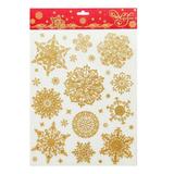 Украшение для окон и стекла декоративное «Снежинки золотые объемные-1», 30×38 см, ПВХ