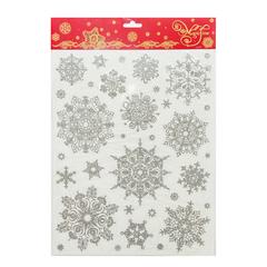 Украшение для окон и стекла декоративное «Снежинки серебряные объемные-1», 30×38 см, ПВХ