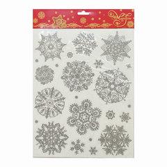 Украшение для окон и стекла декоративное «Снежинки серебряные объемные-3», 30×38 см, ПВХ