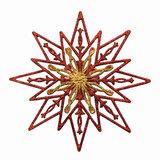 Украшение декоративное подвесное «Снежинка золотая с красным», 24×24см, пластик