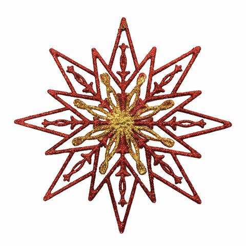 """Украшение декоративное подвесное """"Снежинка золотая с красным"""", 24х24см, пластик"""