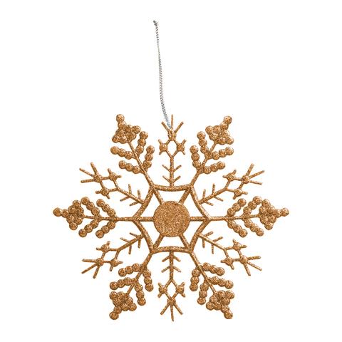 """Украшение елочное подвесное """"Снежинка-паутинка золотая"""", 16,5х16,5 см, пластик"""