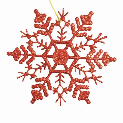 """Украшение декоративное подвесное """"Снежинка-паутинка красная"""", 16,5х16,5 см, пластик"""
