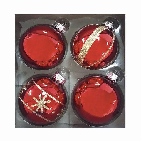 Шары елочные, набор 4 шт., стекло, диаметр 6 см, цвет красный, с рисунком глиттером (глянец), ассорти