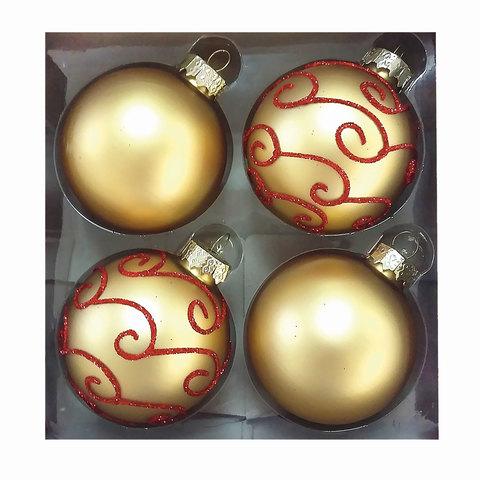 Шары елочные, набор 4 шт., стекло, диаметр 6 см, цвет золото, с рисунком глиттером (матовый), ассорти