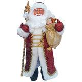 Дед Мороз декоративный, пластик/<wbr/>ткань, высота 41 см, в бордовой шубе