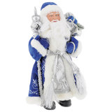 Дед Мороз декоративный, пластик/<wbr/>ткань, высота 41 см, в синей шубе