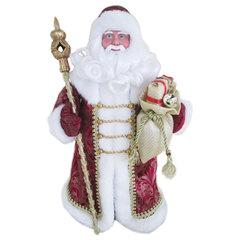 Дед Мороз декоративный, пластик/<wbr/>ткань, высота 30 см, в бордовой шубе