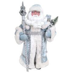Дед Мороз декоративный, пластик/<wbr/>ткань, высота 30 см, в голубой шубе