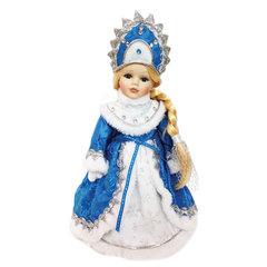 Снегурочка декоративная «Ариша», пластик/<wbr/>ткань, высота 30 см, в синей шубе