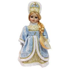 Снегурочка декоративная «Ирочка», пластик/<wbr/>ткань, высота 30 см, в голубой шубе