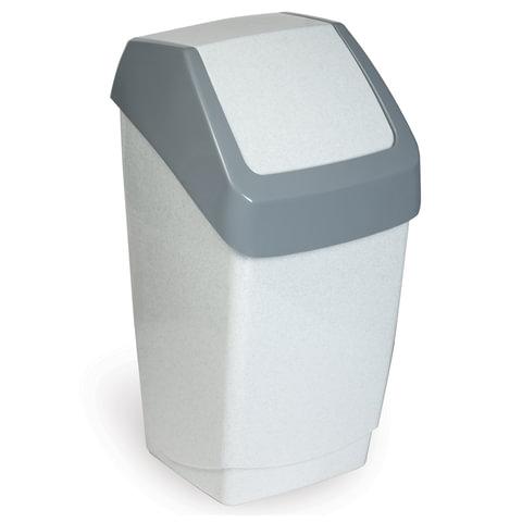 """Ведро-контейнер 15 л, с крышкой (качающейся), для мусора, """"Хапс"""", 46х26х25 см, серое, IDEA"""
