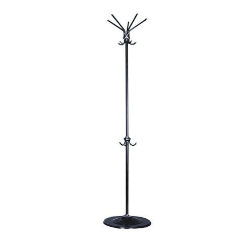 Вешалка-стойка, металлическая, 1,8 м, на диске диаметром 39 см, 5 осн.+ 3 доп. крючка, черная