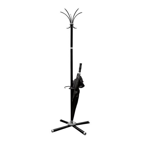 Вешалка-стойка «Классикс-ТМ3», 1,8 м, крестовина 70×70 см, 5 крючков + место для зонтов, металл, черная