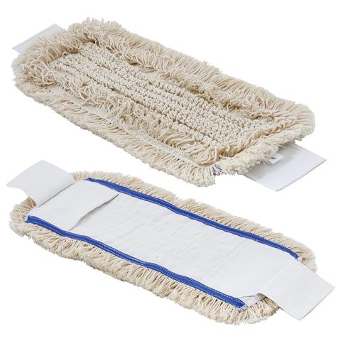 Тряпка для швабры МОП плоская, уши/карманы (длина 50 см, ширина 13 см), хлопок/полиэстер, для держателя 600501