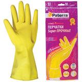 Перчатки хозяйственные резиновые PATERRA с х/<wbr/>б напылением, размер М (средний)