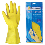 Перчатки хозяйственные резиновые PATERRA с х/<wbr/>б напылением, размер L (большой)