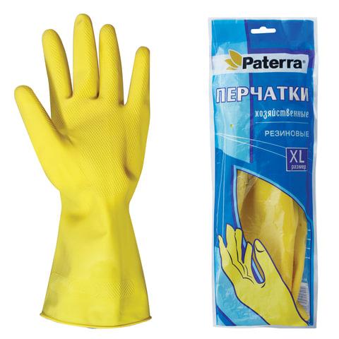 Перчатки хозяйственные резиновые PATERRA с х/<wbr/>б напылением, размер XL (очень большой)
