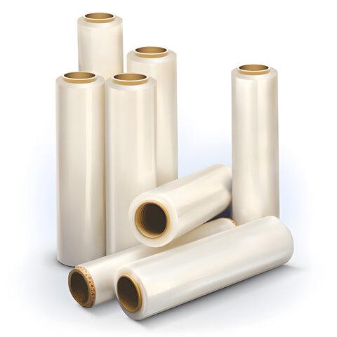 Стрейч-пленка для ручной упаковки, 50 см х 130 м, 17 мкм, 1 кг - нетто, ПЕРВИЧНОЕ СЫРЬЕ, растяжение 300%