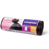 Мешки для мусора, 30 л, PACLAN, комплект 20 шт., «Standart», рулон, ПНД, стандарт, 50×60 см, 7 мкм, черные