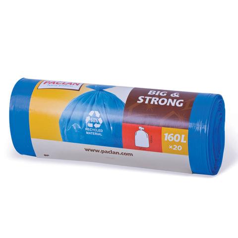 "Мешки для мусора, 160 л, комплект 20 шт., рулон, ПВД, 120х87 см, 21 мкм, синие, PACLAN ""Big&Strong"""